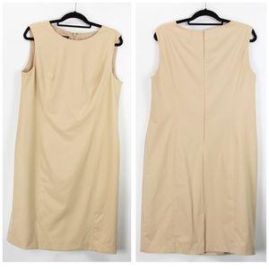 Jones New York Tan Sleeveless Shift Midi Dress